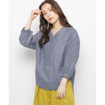 <MODIFY(Women)/モディファイ> バックボリュームストライプシャツ アオ【三越伊勢丹/公式】