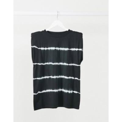 エイソス レディース シャツ トップス ASOS DESIGN t-shirt with padded shoulder in tie dye stripe Mono