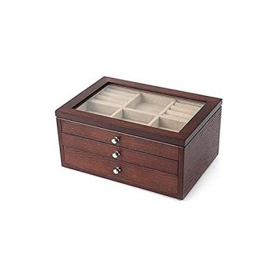WHZG Jewelry case Wooden Jewellery Box Storage Box Organizer with Glass Dis