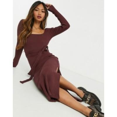 トップショップ レディース ワンピース トップス Topshop midi dress in burgundy Burgundy