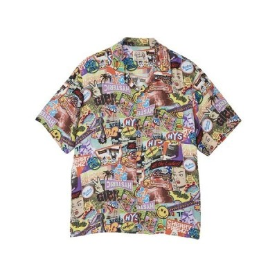 シャツ ブラウス SUMMER OF 70S柄 オープンカラーシャツ