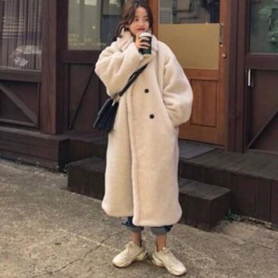 冬新作 レディース モコモコ ロングコート ゆったり着れる