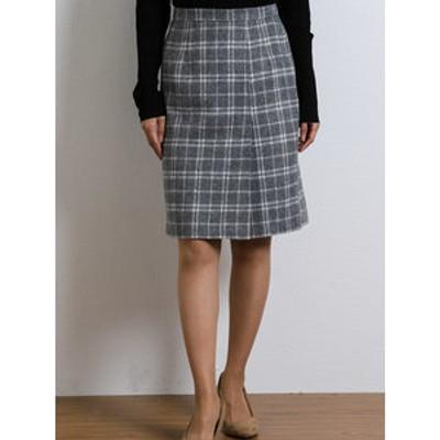 ウール混起毛チェック柄両サイドタックタイトスカート