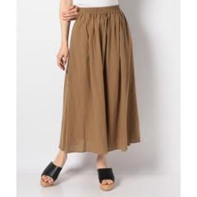 グリーンパークス綿レーヨンサッカー調ストライプスカート