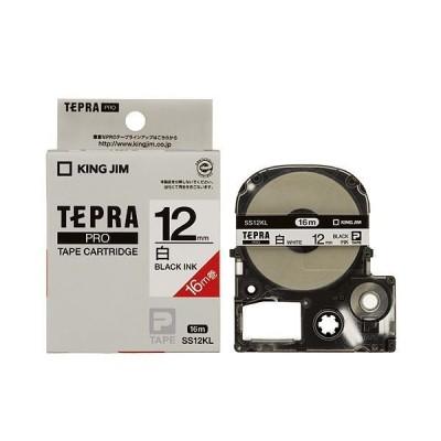 (まとめ) キングジム テプラ PRO テープカートリッジ ロングタイプ 12mm 白/黒文字 SS12KL 1個 〔×4セット〕