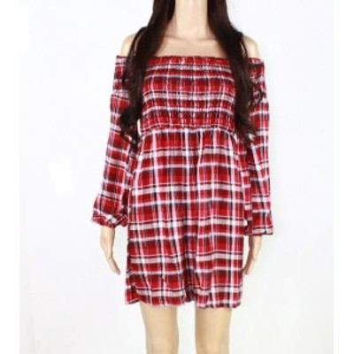Plaid  ファッション ドレス Mini Chica Womens Red Size Small S Plaid Off Shoulder A-Line Dress