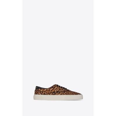 サンローラン SAINT LAURENT スニーカー シューズ 靴 ダークナチュラル レオパード プリント コットン キャンバス