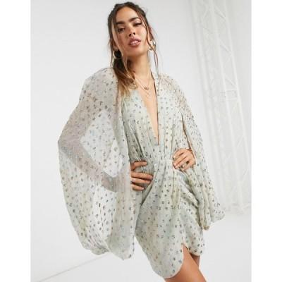 エイソス レディース ワンピース トップス ASOS DESIGN sequin embellished cape sleeve mini dress with wrap skirt Sage