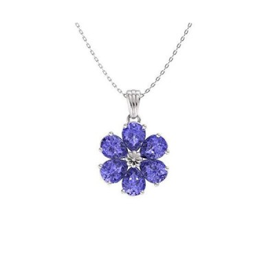 Diamondere Natural and Certified Pear Cut Tanzanite Flower Necklace in 14k White Gold | 0.90 Carat Pendant with Chain【並行輸入品】