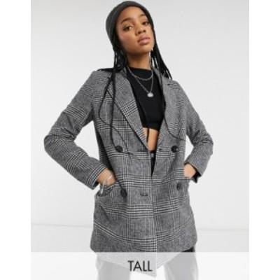 ニュールック レディース コート アウター New Look Tall oversized blazer coat in black plaid Black pattern