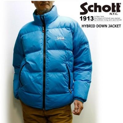 セール!ショット ハイブリッド ダウン ジャケット / Schott HYBRID DOWN JACKET (80年代風オーバーサイズダウンジャケット、大きいサイズメンズアウター)