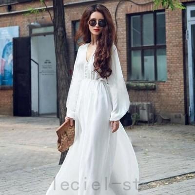 2021新作ワンピース 白 ロングドレス 長袖 パーティードレス ホワイト ロング 結婚式 大きいサイズ