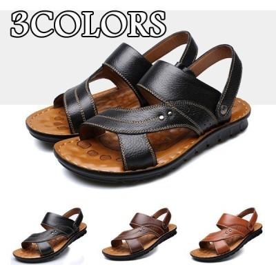 サンダル メンズ レザーサンダル 靴 ビーチサンダル ビーサン カジュアルシューズ アウトドア 2WAYS