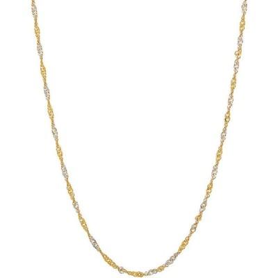 """イタリアン ゴールド Italian Gold レディース ネックレス Polished Diamond Cut 18"""" Solid Singapore Chain in 10K Yellow Gold Yellow Gold"""