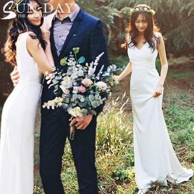 新品ウェディングドレス 結婚式 パーティードレス ワンピース 成人式 パーティー 冬 姫系 セクシーVネック 花嫁ロングドレス お呼ばれ 二次会 演奏会 挙式hs6040
