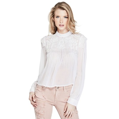 ゲス GUESS SAGE EMBROIDERED CHIFFON BLOUSE (BRILLIANT WHITE)