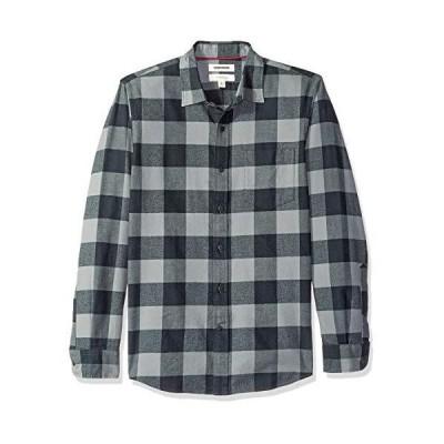 Goodthreads (グッドスレッズ) メンズ スリムフィット 長袖 起毛 フランネルシャツ, グレー/ブラックバッファロー, XS (