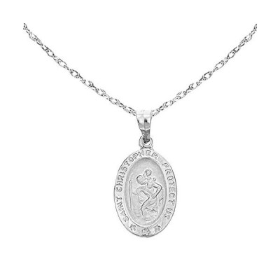 """Ritastephens 14k White Gold Saint St. Christopher Oval Medal Pendant Charm Chain Necklace (18"""" Inches)【並行輸入品】"""