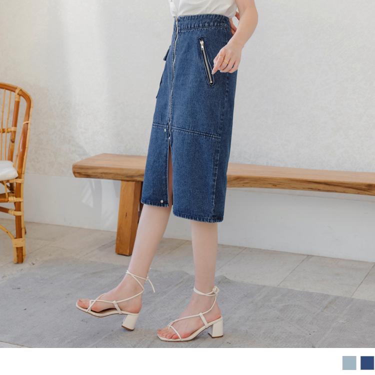 高含棉設計感開衩造型丹寧A字中長裙