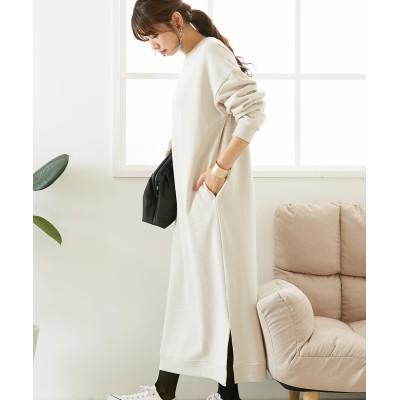 ゆるっとラクちん♪あったか裏起毛ロングワンピース(Iライン) (ワンピース)Dress