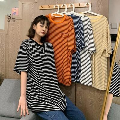 Tシャツ レディース カットソー 半袖 ロンティー 縞柄 ゆったり トップス カジュアル 2021夏