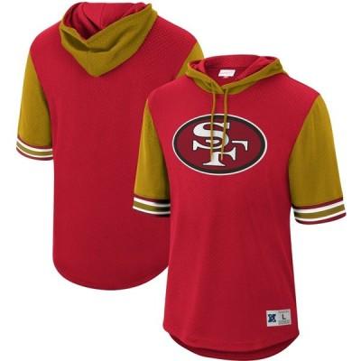 サンフランシスコ・49ers Mitchell & Ness Buzzer Beater Historic Mesh Short Sleeve Pullover Hoodie - Scarlet