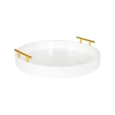 """【並行輸入品】Kate and Laurel Lipton Modern Round Tray, 15.5"""" Diameter, White and Gold, Decorative Accent Tray for Storage and Displa"""