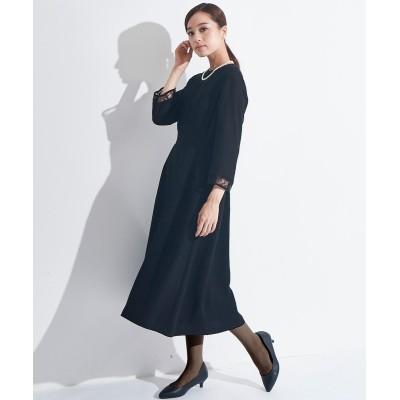 【喪服・礼服】洗える防しわレース切替ブラウス+ジャンスカ2点セット<大きいサイズ> ブラックフォーマル, Funeral Outfit