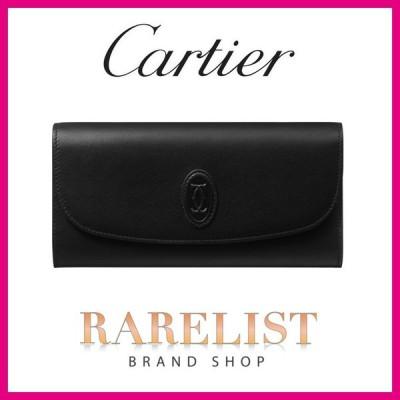カルティエ CARTIER 財布 長財布 フラップ かぶせ ブラック ゴールド レザー 本革 ロゴ