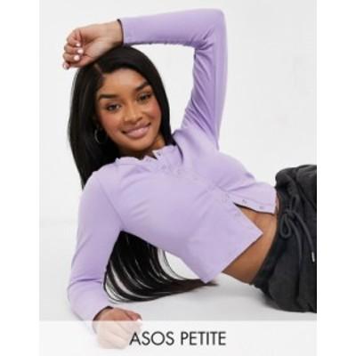 エイソス レディース シャツ トップス ASOS DESIGN Petite fitted top with snaps in lilac Lilac purple