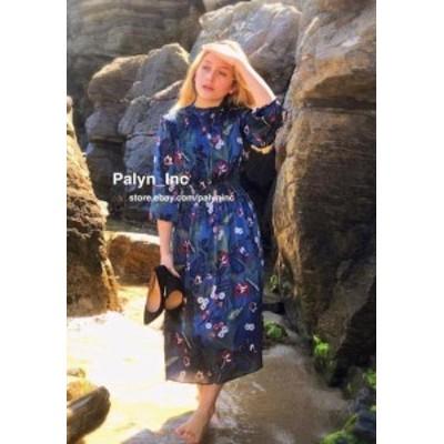 ファッション ドレス NWT ZARA AW17 BLUE PRINTED DRESS WITH ELASTIC DETAIL REF 8346/211_XS S M L