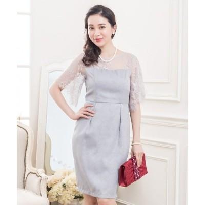 ドレス フレア袖花柄レースワンピース・ドレス
