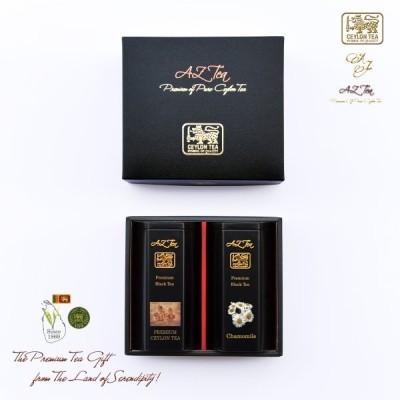 マリオット銀座愛用  黒缶 2缶入りギフト 11 Chamomile Tea カモミールティー Premium Ceylon Tea プレミアムセイロン紅茶 ティーバッグ スリランカ農園 AZ Tea