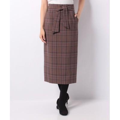 allureville アルアバイル グレンチェックハイウエストリボンスカート