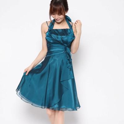 ジュネビビアン Genet Vivien 袖付きラインストーンショルダードレス (ブルーグリーン)