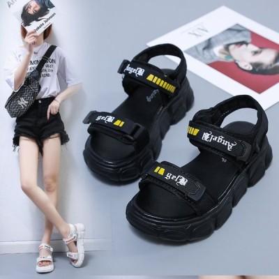 大きいサイズ サンダル レディース カジュアル 疲れない 厚底サンダル ベルクロ シューズ 美脚 靴 可愛い スポーツサンダル お出かけ 旅行 韓国風 アウトドア