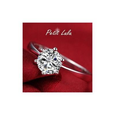 Petit Lulu shop指輪 レディース 華奢 リング 6本爪 一粒 ダイヤモンドCZ プラチナRGP 18金RGP プチルルオリジナ
