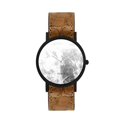 South Lane Stainless Steel Swiss-Quartz Watch with Leather Calfskin Strap, Black, 20 (Model: AW18-59) 並行輸入品