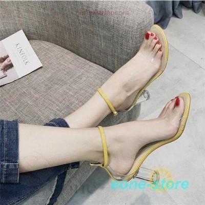 サンダル レディース シンプル ストラップ ミュール  夏 シューズ パンプス 靴 ハイヒール オープントゥ 歩きやすい 美脚 脚長効果のある