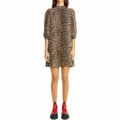 ガニー GANNI レディース ワンピース ワンピース・ドレス Leopard Print Puff Sleeve Georgette Minidress Leopard