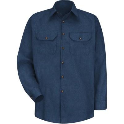レッドキャップ シャツ トップス メンズ Red Kap Men's Heathered Poplin Long Sleeve Uniform Shirt Navy