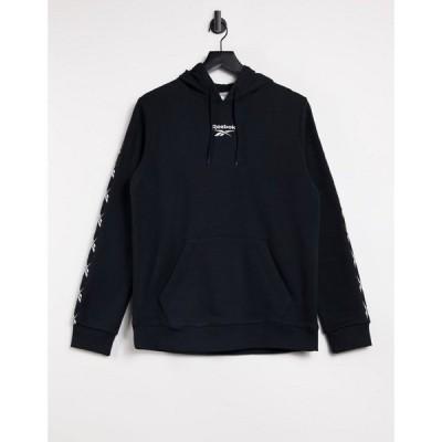 リーボック Reebok メンズ パーカー トップス Training hoodie with taping in black ブラック