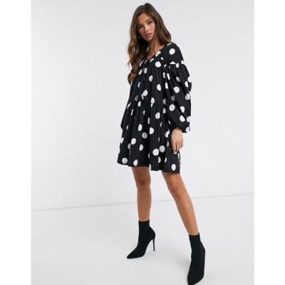 エイソス ASOS DESIGN レディース ワンピース ティアードドレス Extreme Tiered Smock Dress In Black And White Polka Dot ブラック/ホワイト