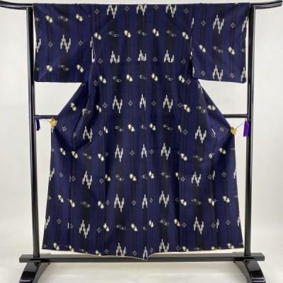紬 美品 秀品 縞 燕 青紫 袷 156cm 62cm S 正絹 中古