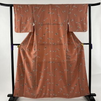 小紋 優品 鳥 サーモンピンク 袷 身丈160cm 裄丈63cm S 正絹 中古