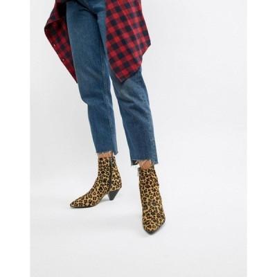 ブロンクス レディース ブーツ&レインブーツ シューズ Bronx leopard print pony pointed heeled ankle boots Leopard