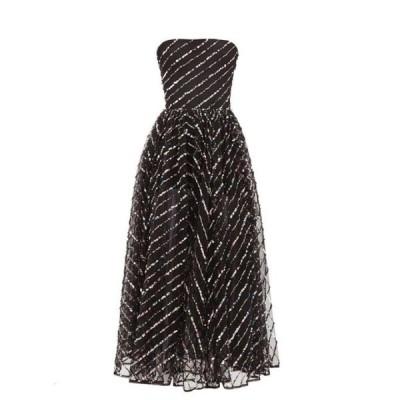 ロサリオ Rasario レディース パーティードレス ミドル丈 ワンピース・ドレス Strapless sequinned tulle midi dress Black
