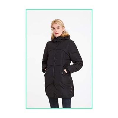 Polydeer Women's Classic Winter Jacket Soft Thickened Vegan Down Coat Warm Puffer Parka w/Faux Fur Hood (Black, S)並行輸入品
