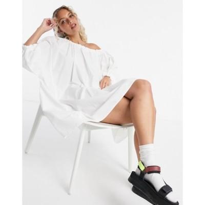ウィークデイ レディース ワンピース トップス Weekday Tuva organic cotton volume dress in white