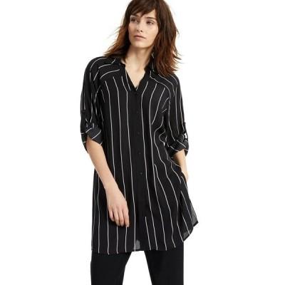 アルファニ カットソー トップス レディース Striped Button-Down Tunic Top, Created for Macy's Black Slim Stripe